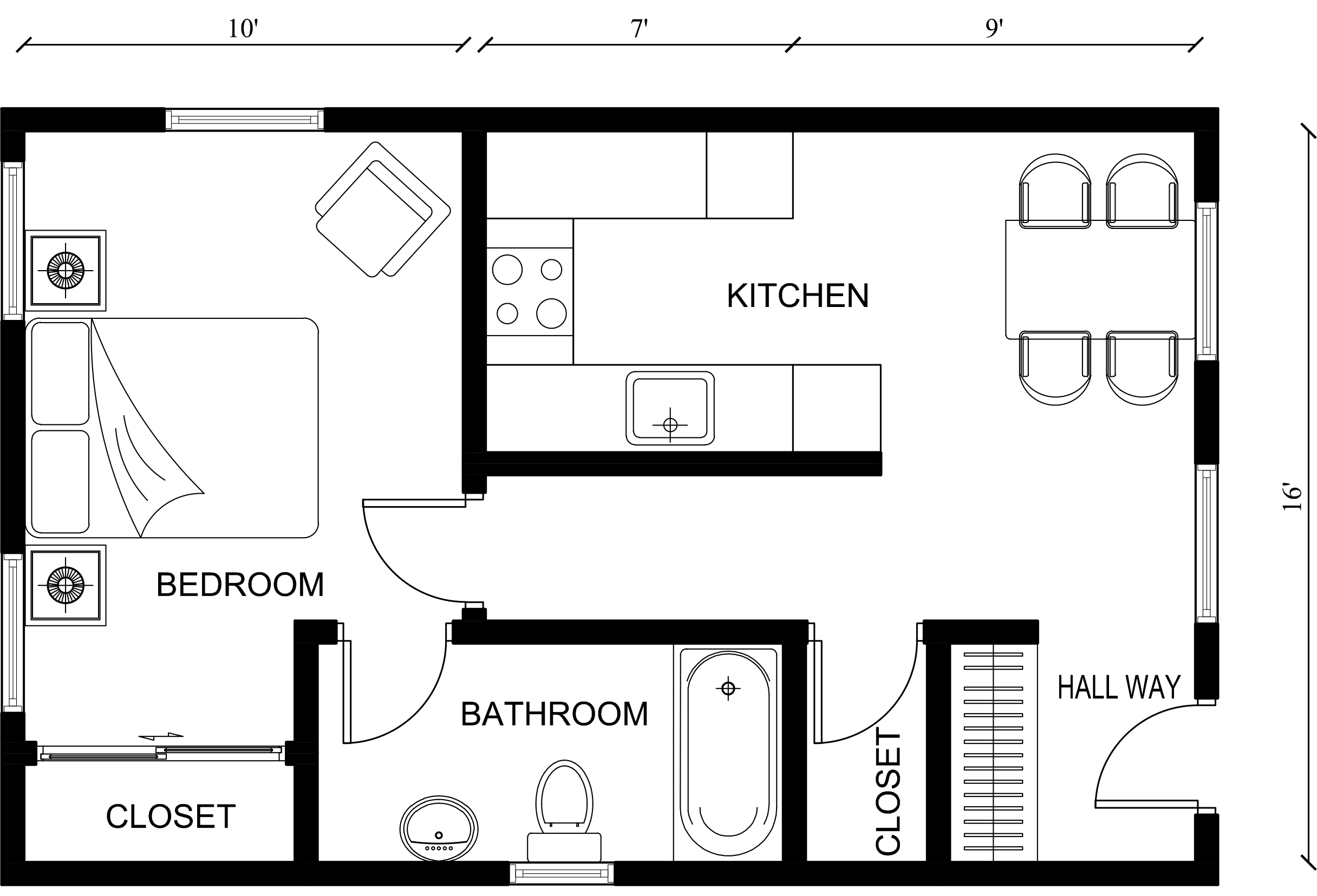 1 bedroom (King Arthur)